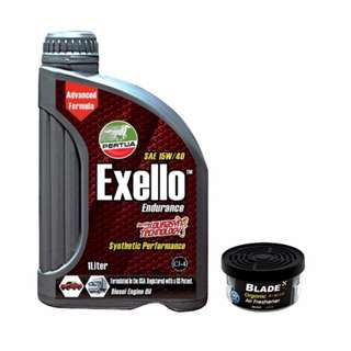 Pertua Exello Synthetic Performance Diesel Engine Oil SAE 15W/40 1L +  Blade Organic Air Freshener Musk