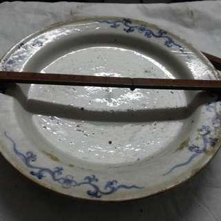 清代手繪青花10吋瓷碟