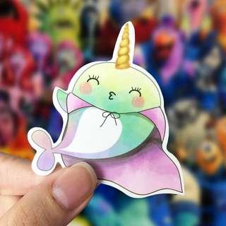 Lunarbay Whalicorn Superhero Vinyl Sticker Cute Sticker Unicorn Laptop Decal