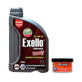 Pertua Exello Synthetic Performance Diesel Engine Oil SAE 15W/40 1L +  Blade Organic Air Freshener Squash
