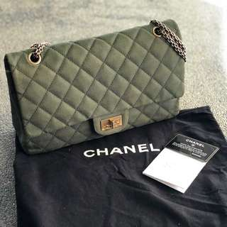 CHANEL 2.55 Reissue Large Flap in Moss Green Denim Leather with Gold Rust Hardware