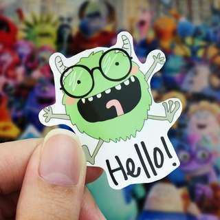 Lunarbay Hello Monster Vinyl Sticker Cute Sticker Laptop Decal / Craft Supplies