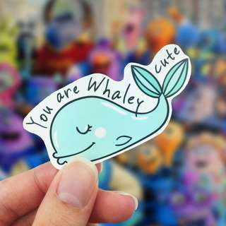 Lunarbay You Are Whaley Cute Vinyl Sticker Laptop Decal / Craft Supplies / Stationery