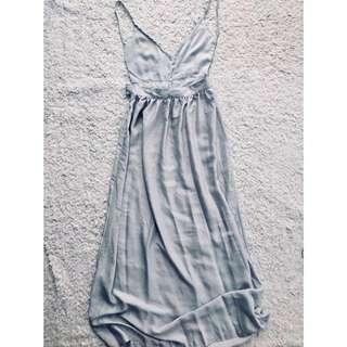 *Brand New* Silver Satin Bare-back Dress