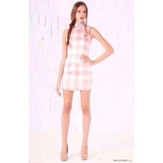 ✨ FLAUNT Girly Gingham Cheongsam Dress