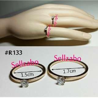 Ladies Ring : Diamante Solitaire 18K Gold Rose Golden Colour Sellzabo Accessories #R133 1.5cm 1.7cm