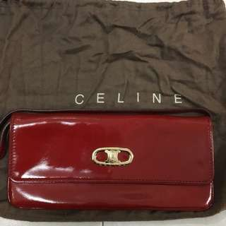 Celine 紅色漆皮clutch
