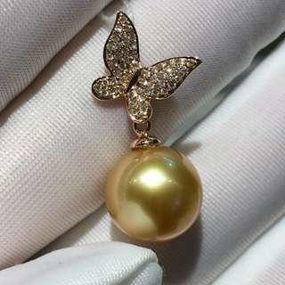 🈵️鑽石💎翩翩起舞的18k玫瑰金蝴蝶➕南洋11mm金珠吊墜,那位客戶來帶它回家😊