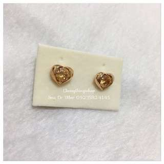 Citrine Stone Heart Earrings