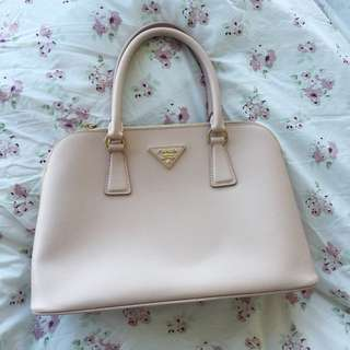 Prada inspired Pink Handbag with logo