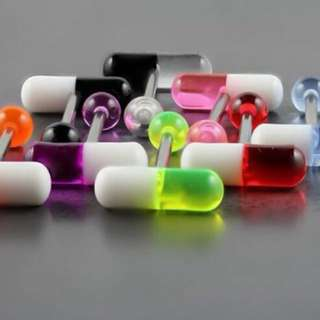 UV pill tongue barbells