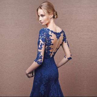 Blue Bodycon Lacey Gown