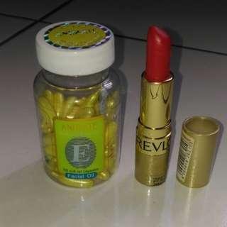 Animate facial oil + lipstik Revlon