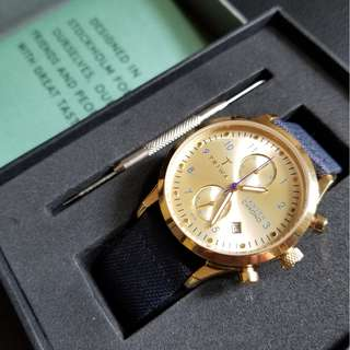 TRIWA Watch Gold Lansen Chrono Leather Unisex