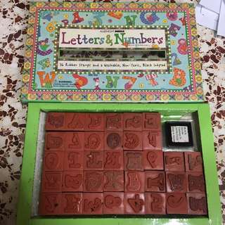 Vintage alphabet rubber stamps