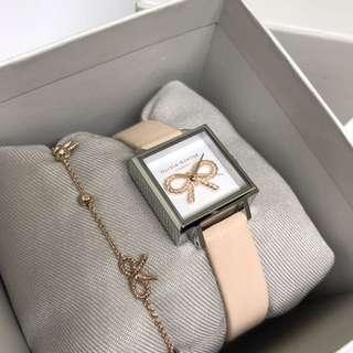 OLIVIA BURTON Vintage Bow Nude Peach & Silver Watch 手錶 連手鏈 原裝盒 全新 情人節