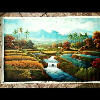 Bali Oil Painting Rice Paddy Field
