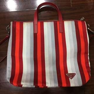 Prada條紋拼接手提包 肩背包 布包 媽媽包