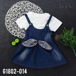 [READY STOCK]  🌸 Lace Collar Blouse + Denim Dress