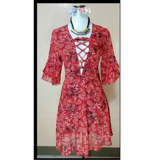 designer low cut lace up v-neck red floral summer bell sleeves chiffon dress