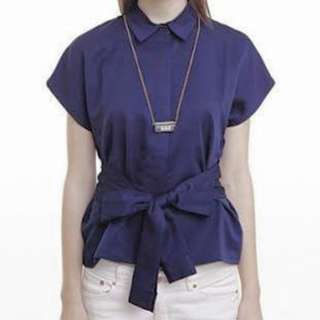 Cotton Ink Blouse with Bow