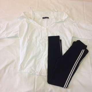 Preloved off cold shoulder white Zara top