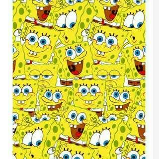 Bahan kain meteran motif new spongebob