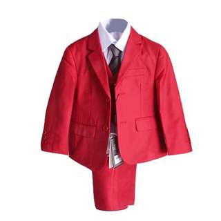 Luxury 5Pcs Little Boy/Man Coat Vest Set with Tie - RED