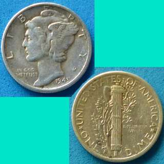 Coin US USA United States of America 10 Cents Mercury Dime 1943 S Silver Content 0.0723 oz
