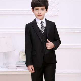 Luxury Little Boy/Man 5pcs Coat Set with Tie-Black