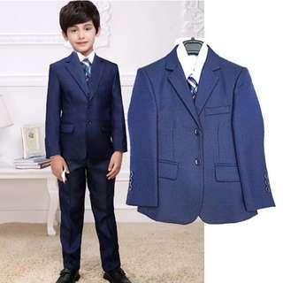 Luxury 5Pcs Little BoyMan Coat Vest Set with Tie-Blue