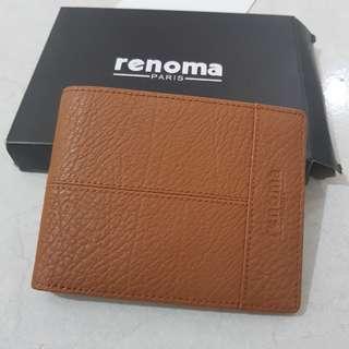 renoma dompet pria original full leather brown new