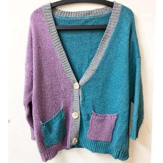 毛衣雙色拼接外套