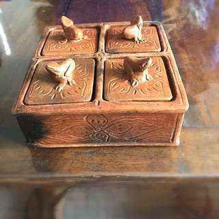 Vintage Terra Cotta 4 Compartment Spice Box