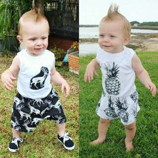 Newborn Baby Boy Sleeveless Top+Shorts 2pcs Set 🍀