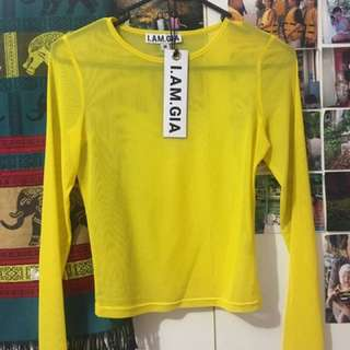 Iamgia Yellow Mesh Crop