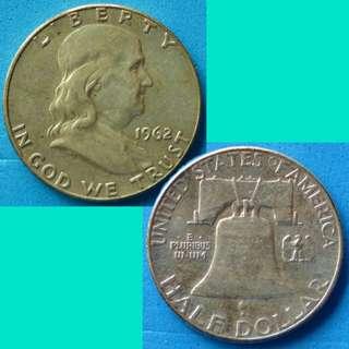 Coin US Franklin Half Dollar 1962 P km 199 silver 0.3617 oz