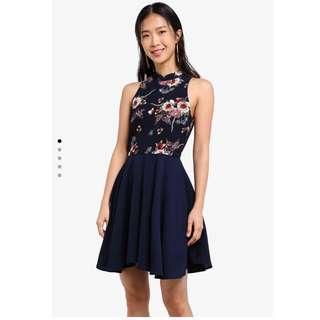 BNWT Mandarin Collar Printer Flared Dress CNY