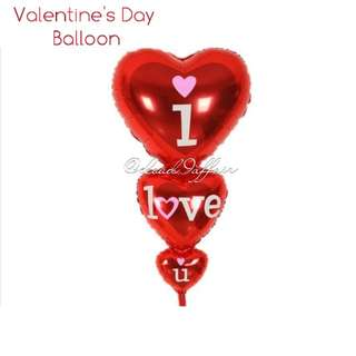 """LIMITED SET AVAIL: 75CM TALL """"I LOVE YOU"""" BALLOON"""