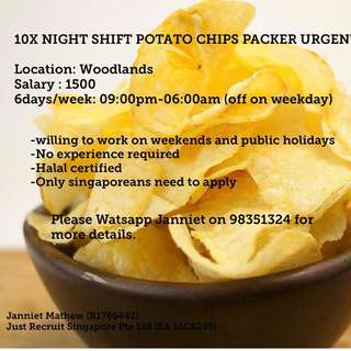 NIGHT SHIFT FOOD PACKER - CAN CHOOSE  WOODLANDS OR TUAS