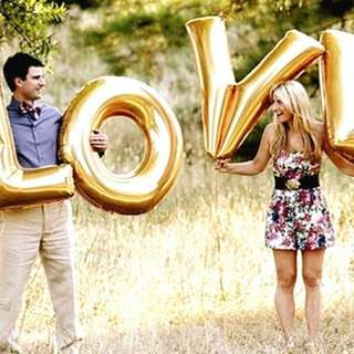 """40inch """"LOVE"""" Letter Balloon with Helium."""