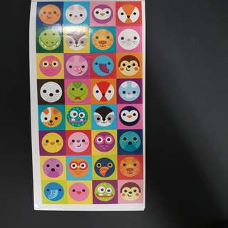 (A1) BN Cute Animal Face Stickers