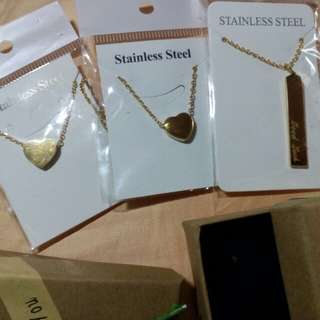 Letter Stainless Heart Necklace with free Box