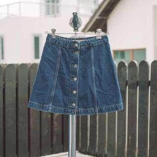 Topshop denim button down skirt