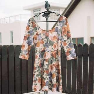 Bershka floral skater dress