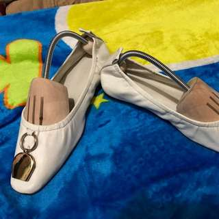 White pure leather doll shoes