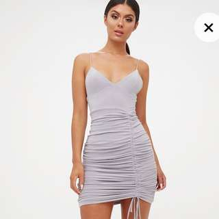 PrettyLittleThing Grey Ruched Mini Dress