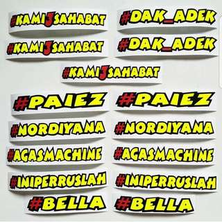 Sticker Custom Made Nama 2018