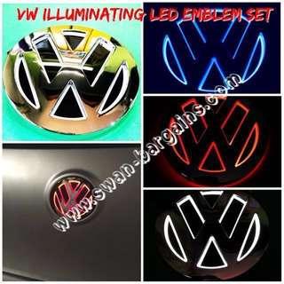 3D VW LED Illuminating Running Brake Light Rear Emblem in Mirror Chrome Finish Volkswagen Golf Bora