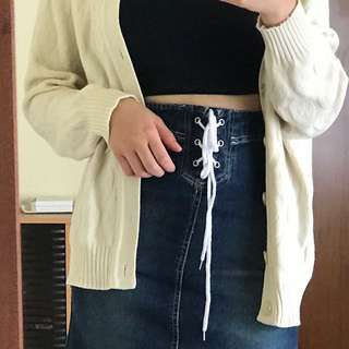 90s High Waisted Denim Skirt With Lace Up Front